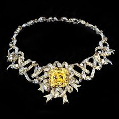 The imposing necklace by Jean Schlumberger, the 128 carat Tiffany Yellow  The Tiffany Yellow was mined in the late 1800s
