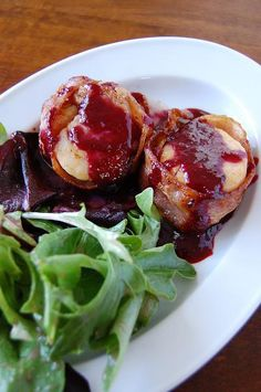 Bacon Wrapped Sea Scallops with Blackberry Port Sauce