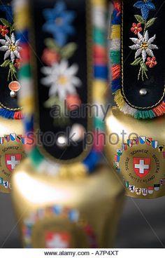 Souvenir cow bells, Grindelwald, Berner Oberland, Switzerland - Stock Image