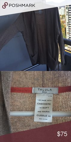 Gorgeous Aritzia Talula tan Cashmere Cardigan SO soft and wonderful. Worn once but not super flattering on me :( sad to let this beaut go! Tan, Cashmere, comfy! Aritzia Sweaters Cardigans