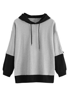 Color Block Drawstring Hooded Sweatshirt Women Casual Autumn New Style Grey Pullovers Spring Sporty Long Sleeve Hoodie Gray XL Fashion Mode, Teen Fashion Outfits, Cool Outfits, Casual Outfits, Women's Casual, Emo Fashion, Fashion Styles, Stylish Hoodies, Mode Streetwear