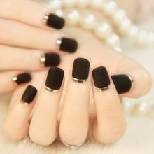Black matte texture metal edge fake nails nail patch nail stickers French manicure finished end G047(China (Mainland))