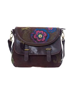 Desigual Mew Luna Flower Diamond Woman Woven Cross Body, Brown, One Size