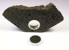 Ring & Brooch | Ilse-Marie Erl.  Sterling silver, volcanic rock from Mt. Albert