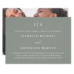 Modern Sage Green Monogram Photo Wedding Invitation