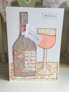 Handmade wine greetings card special mum present card Fabric Postcards, Fabric Cards, Embroidery Cards, Free Motion Embroidery, Handmade Birthday Cards, Greeting Cards Handmade, Card Birthday, Freehand Machine Embroidery, Sewing Cards