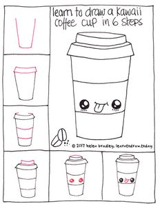 How to draw a cute coffee in six steps