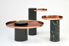 Sebastian Herkner Salute copper & marble side table for La Chance | Yellowtrace