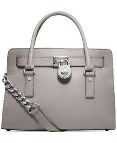MICHAEL Michael Kors Hamilton Saffiano Leather East West Satchel | macys.com > I love the gray color