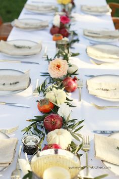 fall dinner party table and menu