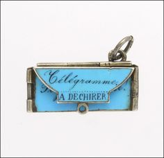 French Circa 1910-1920 Silver Enamel Telegram Charm