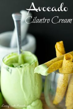 Avocado Cilantro Cream - Easy to make tangy dipping sauce for tacos and other Mexican goodies. Avocado, Cilantro, Lime and Sour Cream are blender together.