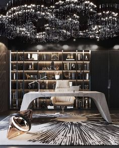 For all lovers of Contemporary Interiors, here we have a luxurious office that leaves us surrendered by the way it seduces us in this whole scenario. The Home Office Design, House Design, Office Decor, Black Interior Design, Interior Paint, Best Decor, Luxury Office, Decoration Table, Decoration Crafts