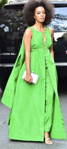 Solange Knowles wearing a kelly green Fall 2015 Rosie Assoulin ensemble in New York City.