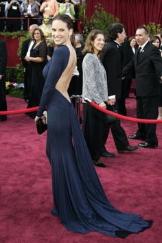 A history of what every Oscar Best Actress winner has worn to accept her award: Hillary Swank