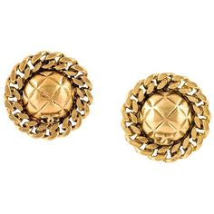 Chanel Vintage Chain Orb Clip-on Earrings ($502) ❤ liked on Polyvore featuring jewelry, earrings, metallic, chanel, metallic jewelry, chanel earrings, clip earrings and clip back earrings