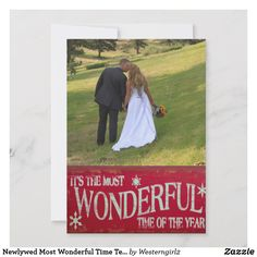 Shop Newlywed Most Wonderful Time Template Christmas created by Personalize it with photos & text or purchase as is! Modern Christmas Cards, Christmas Templates, Newlyweds, White Envelopes, Wonderful Time, Your Image, Custom Invitations, Rsvp, Backdrops