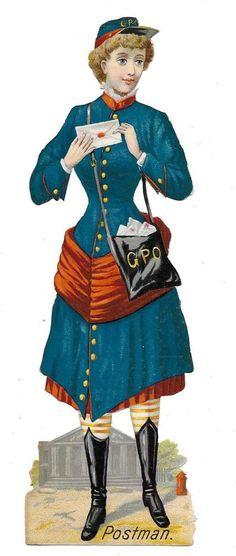 Victorian Die Cut Scrap Postman or Postwoman ca. 1880s