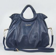 ☞……  Miu Miu Sheepskin Leather Handbag 1835 Dark Blue ,♥の♥ #CHRISTMAS GIFT ♪♩♭◥