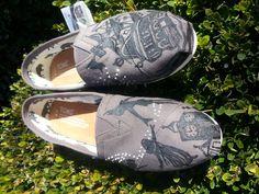 Disney Peter Pan Handpainted Beaded Custom Toms. $100.00, via Etsy.