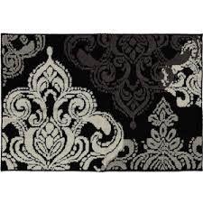 Floral Bath Rug BlackWhite X Perfect For Flower Themes - Bhs monochrome word bath sheet bhs monochrome word hand towel