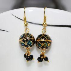 Multicolour meenakari work earring with Black drops