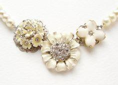 """Wedding+jewelry+cream+enamel+flower+pearl+statement+necklace,+enamel+rhinestone+floral+bridal+party+necklaces""+-+$88"
