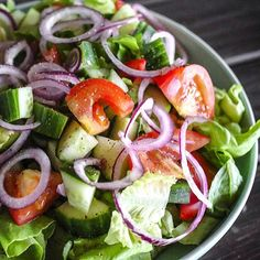 ... cucumber, Roma tomatoes, red onion with cracked pepper and lemon juice