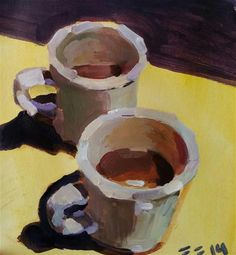 "Daily Paintworks - ""Coffee at Bellas"" - Original Fine Art for Sale - © Liz Maynes"