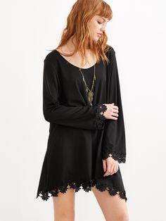 Shop Black Crochet Trim Shift Dress online. SheIn offers Black Crochet Trim…