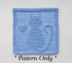CAT with HEART Knit Dishcloth Pattern  PDF by AuntSusansCloset