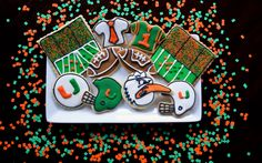 This Is A MIAMI HURRICANES College Football Wallpaper Background But I Want To Know Who Made These Cookies Would Be Awesome For Summer Sendoff Or