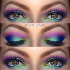 Holi by @ElyseReneau in Motives Pro Color Eye Shadow Palette and Onyx Eyeliner!   #Holi #Spring #Festival #Love