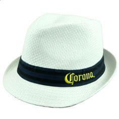 b71b5035 Corona Mexican Beer Striped Band Malt Liquor Beach Fedora White Trilby Hat  L/XL Corona