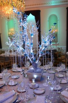 Tiffany Tree Centerpiece Wrapped with LED lights & Hanging Crystals Quinceanera Centerpieces, Quinceanera Decorations, Tree Centerpieces, Wedding Centerpieces, Wedding Decorations, Christmas Decorations, Butterfly Centerpieces, Wedding Ideas, Winter Wonderland Theme