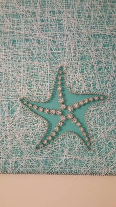 Star Fish String Art seafoam green paint with door PawtiqueCollars String Wall Art, Nail String Art, Diy Wall Art, Anchor String Art, Wall Decor, String Art Patterns, Doily Patterns, Dress Patterns, Paint Chip Art