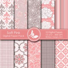Soft Pink  This listing is for 10 printable High Quality Digital papers.    Each paper measures 12 x 12 inch, 300 DPI, JPEG format.    Great for book and photo album covers, gift wraps, bookmarks, scrapbooking, invitations and making cards, stationary, labels and tags,jewelry, collages, stickers, photographers.
