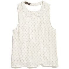 MADEWELL Something Else by Natalie Wood Spot Top (6.470 RUB) ❤ liked on Polyvore featuring tops, shirts, tank tops, tanks, white and silver, white polka dot shirt, metallic shirt, white tank top, white slip and button collar shirt