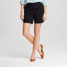Women's 7 Chino Shorts Black 14 -Merona