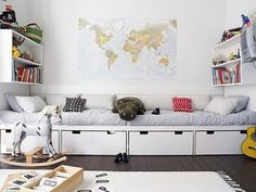 Ikea Stuva used as storage on bottom with seating area above. Would be great in the kids playroom in the basement. Alcove Bed, Ikea Stuva, Casa Kids, Ideas Habitaciones, Deco Kids, Built In Furniture, Entryway Furniture, Luxury Furniture, Ikea Furniture