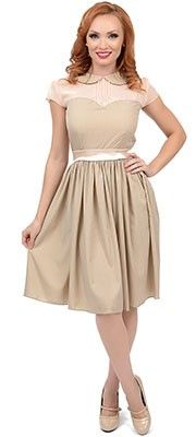 1950s Style Taupe Metallic Dotted Dolly Swing Dress