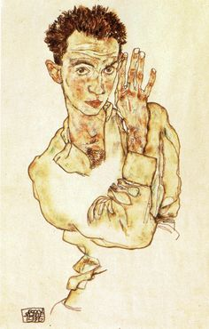 Egon Schiele, Self-Portrait with Raised Right Hand, 1916. Gouache, watercolor, and pencil on paper