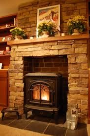 stone fireplaces for stoves - Google Search