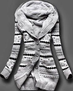 Full Sleeve Fleece-lined Button Up Norwegian Style Sweater Look Fashion, Fashion Outfits, Womens Fashion, Fashion Sale, Vogue Fashion, Fashion Clothes, Latest Fashion, Fashion Hub, Fashion 2014