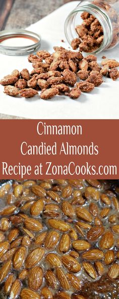 This is a delicious and easy stove-top Cinnamon Candied Almonds Recipe that smells amazing and tastes delicious! They make a great appetizer and are perfect as a gift to enjoy for the holidays. These are yummy as a salad topping too. This is a small batch recipe and fills about 1 ½ (8 oz sized) canning jars. #almonds #cinnamon #CinnamonAlmonds #CandiedAlmonds #SmallBatch #Christmas #HolidayFood Snack Mix Recipes, Appetizer Recipes, Breakfast Recipes, Candy Almonds Recipe, Lorraine, Cinnamon Candy, Candied Almonds, Dessert For Two, Salad Topping