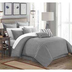 Chic Home Karlston Stitch Grey Embroidered 13-piece Comforter Set