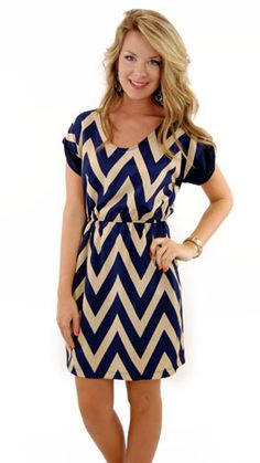 Navy blue and white Chevron dress