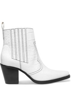 Heel measures approximately 75mm/ 3 inches White textured-leather (Calf) Pull on Imported