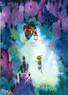 Reprodukce Dva Broučci fialový les - Jiří Trnka - My site Book Illustration, Illustrations, Animation Film, Childrens Books, Modern Art, Delicate, Watercolor, Drawings, Painting