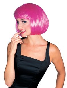 Includes: One hot pink bob wig with bangs. One size fits most. #Halloween #Accessory #Wig